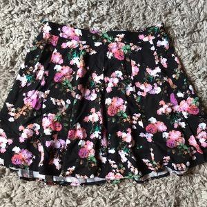 Decree skater skirt, black with floral print